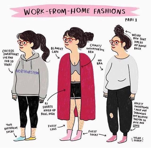 Cartoon of sloppy women working from home. Sweatshirts, hairy legs, old clothing, no bra, and ponytails.